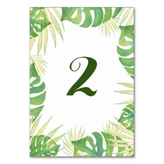 Tropical leave watercolor wedding table number