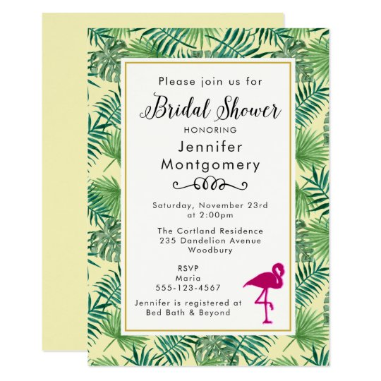 Tropical Leaves and a Pink Flamingo Bridal Shower Card