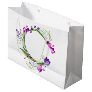 Tropical leaves and flowers. Add your text! Large Gift Bag