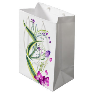 Tropical leaves and flowers. Add your text! Medium Gift Bag