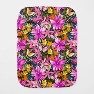 Tropical leaves and flowers burp cloth