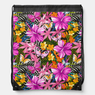 Tropical leaves and flowers drawstring bag