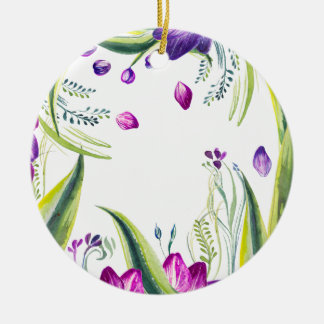 Tropical leaves and flowers for your home christmas ornament