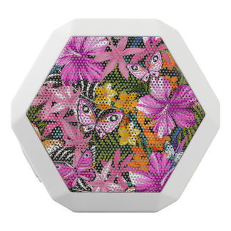 Tropical leaves and flowers white bluetooth speaker