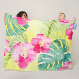 Tropical Leaves and Hibiscus Flowers Watercolor Fleece Blanket
