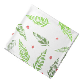 Tropical Leaves and Strawberry Pattern Bandanna
