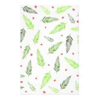 Tropical Leaves and Strawberry Pattern Stationery