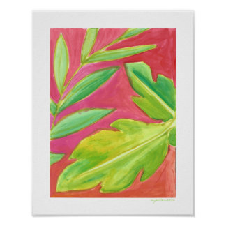 Tropical Leaves Bright and Painted Art Print