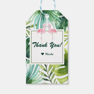 Tropical Leaves & Flamingos Hawaiian Wedding Favor Gift Tags