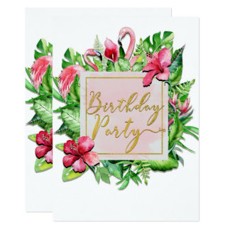 Tropical Leaves Flamingos Summer Birthday Party Card