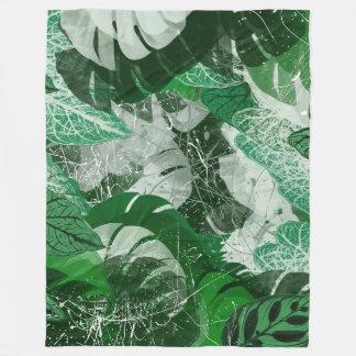 Tropical leaves Fleece Blanket, Large