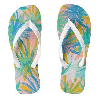 tropical leaves flip flops