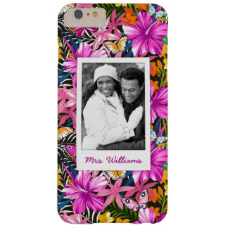 Tropical Leaves & Flowers | Add Your Photo & Name Barely There iPhone 6 Plus Case
