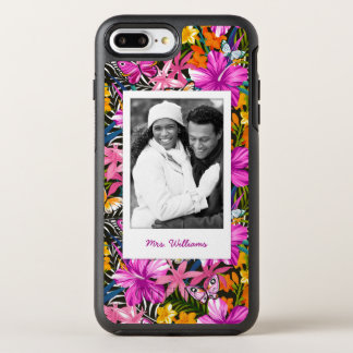Tropical Leaves & Flowers | Add Your Photo & Name OtterBox Symmetry iPhone 7 Plus Case