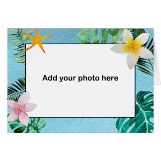 Tropical Leaves Flowers Thank You small notecard