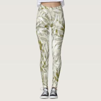 Tropical leaves foliage moss green white leggings