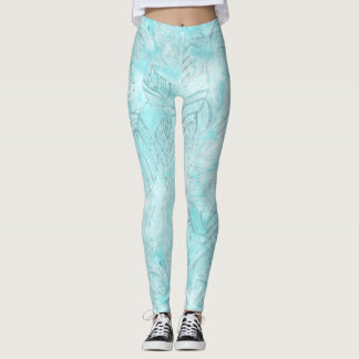Tropical leaves foliage turquoise blue beige leggings