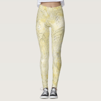 Tropical leaves foliage yellow beige taupe leggings
