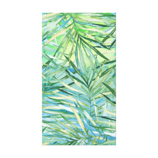 Tropical Leaves Green Blue Watercolor Canvas Print