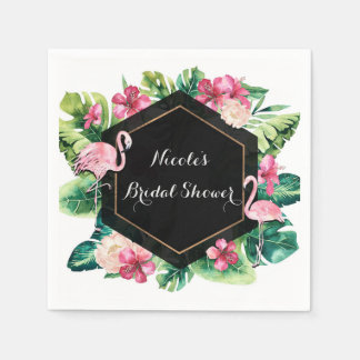 Tropical Leaves Hibiscus Flamingos Elegant Party Disposable Napkin