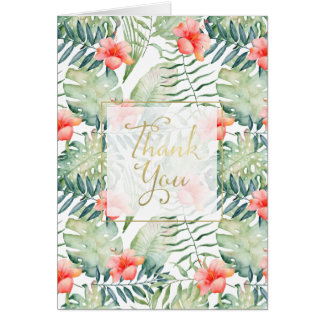 Tropical Leaves Hibiscus Floral Thank you Card