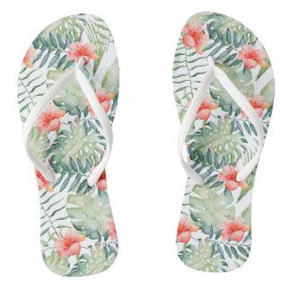 Tropical Leaves Hibiscus Floral Watercolor Flip Flops