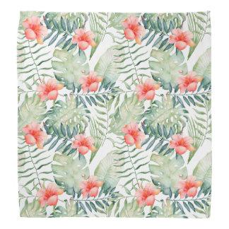 Tropical Leaves Hibiscus Floral Watercolor Head Kerchiefs