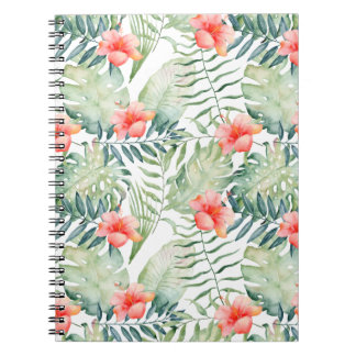 Tropical Leaves Hibiscus Floral Watercolor Note Book