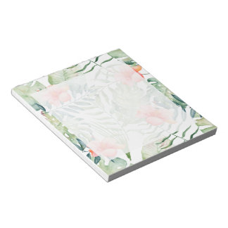 Tropical Leaves Hibiscus Floral Watercolor Notepad