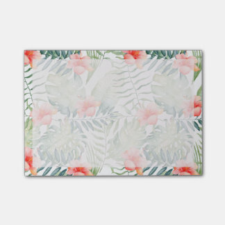 Tropical Leaves Hibiscus Floral Watercolor Post-it Notes