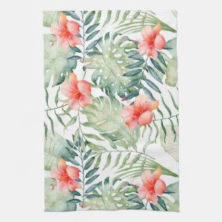 Tropical Leaves Hibiscus Floral Watercolor Tea Towel