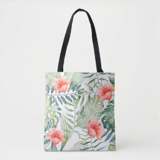 Tropical Leaves Hibiscus Floral Watercolor Tote Bag