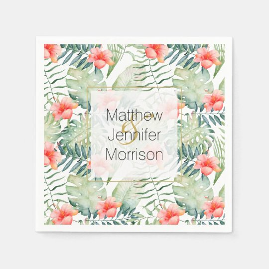 Tropical Leaves Hibiscus Floral Watercolor Wedding Disposable Napkin