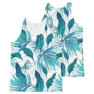 Tropical Leaves in Teal All-Over Print Tank Top