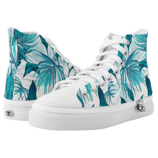 Tropical Leaves in Teal High Tops