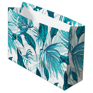Tropical Leaves in Teal Large Gift Bag