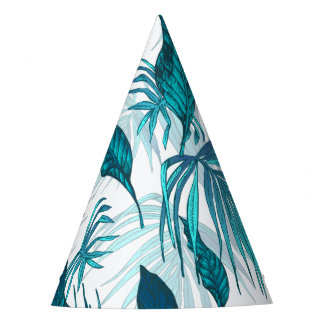Tropical Leaves in Teal Party Hat