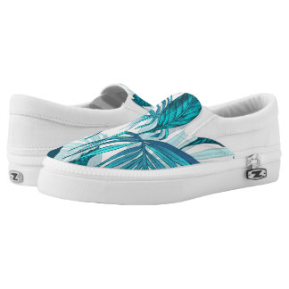 Tropical Leaves in Teal Slip-On Shoes