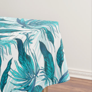 Tropical Leaves in Teal Tablecloth