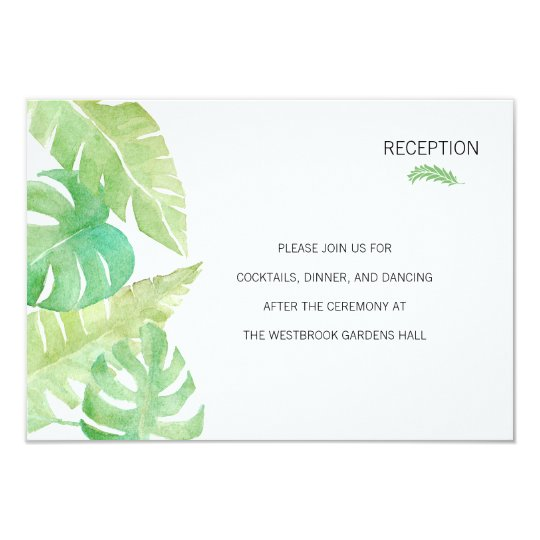 Tropical Leaves in Watercolor Insert Card
