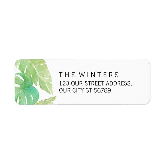 Tropical Leaves in Watercolor Return Address Label