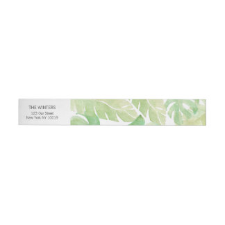 Tropical Leaves in Watercolor Wraparound Address Label
