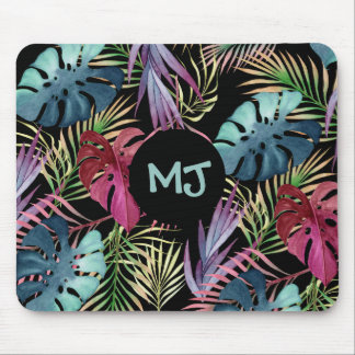 Tropical Leaves Jungle Pattern with Monogram Mouse Pad