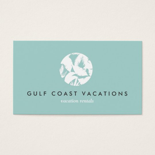 Tropical Leaves Logo on Aqua for Vacation Rental Business Card