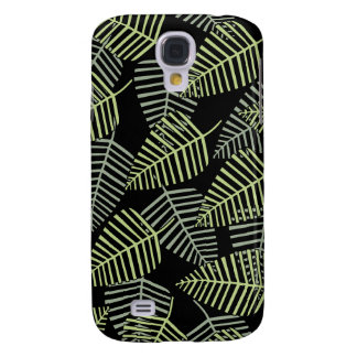 Tropical Leaves on Black. Galaxy S4 Case