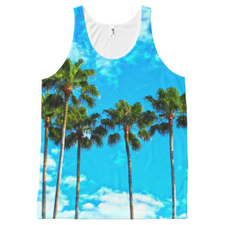 Tropical Leaves Palm tree Tank top
