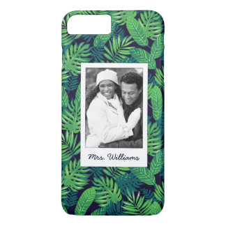 Tropical Leaves Pattern | Add Your Photo & Name iPhone 8 Plus/7 Plus Case