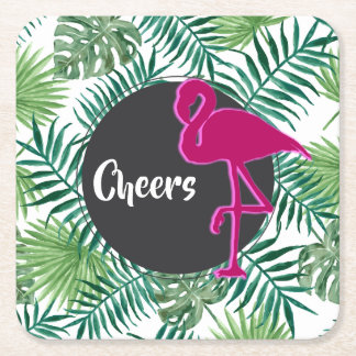Tropical Leaves Pattern and Pink Flamingo Cheers Square Paper Coaster