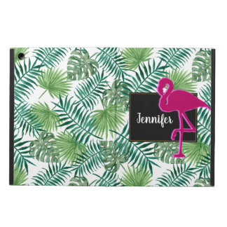 Tropical Leaves Pattern and Pink Flamingo iPad Air Cover