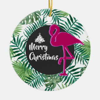 Tropical Leaves Pattern and Pink Flamingo Xmas Christmas Ornament